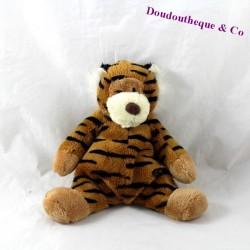 Doudou tigre CMP marron rayures noires 20 cm