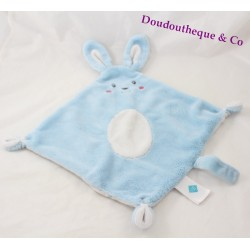 Doudou plat lapin TEX BABY bleu rond ovale blanc losange 43 cm