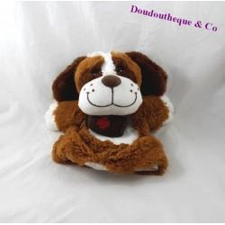 Doudou marionnette chien DNG CASH marron Saint Bernard tonneau 25 cm