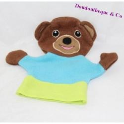 Doudou marionnette Petit ours brun BAYARD bleu vert 22 cm