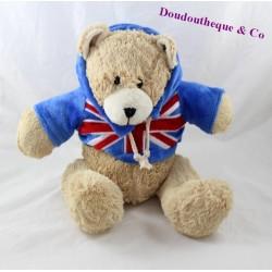 Peluche ours sweat bleu drapeau Royaume Uni 25 cm