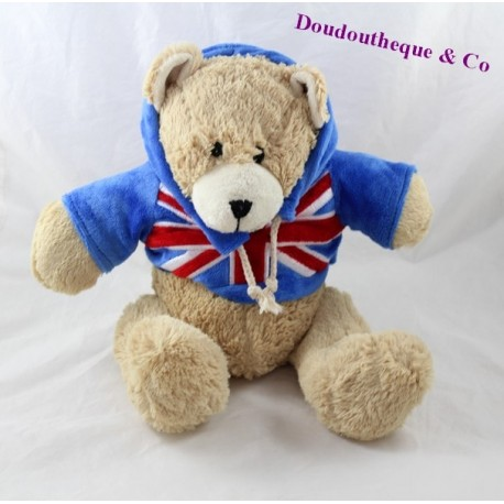 Teddy bear Sweatshirt blue flag United Kingdom 25 cm