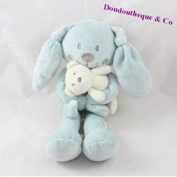 Musical blankie rabbit POMMETTE blue 25 cm