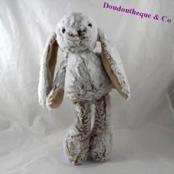 Peluche lapin KSD gris beige poils longs 37 cm