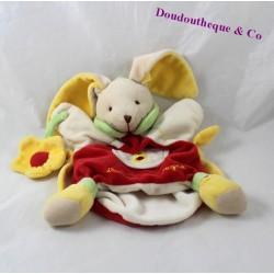 Doudou marionnette lapin DOUDOU ET COMPAGNIE fleur jaune rouge 24 cm