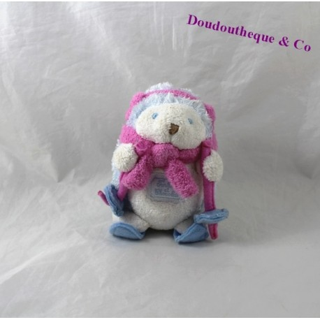 Hedgehog plush TARTINE and chocolate ski pink 14 cm