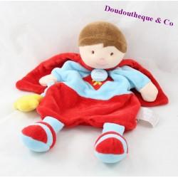 Doudou marionnette garçon DOUDOU ET COMPAGNIE Super héros rouge bleu 31 cm