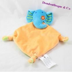 Doudou plat éléphant BRUIN Toy's'Rus orange bleu noeuds 31 cm