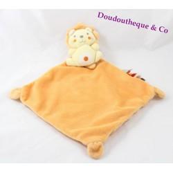 Doudou flat yellow orange Lion NICOTOY diamond with labels 21 cm