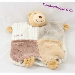 Doudou flat puppet bear KALOO patchwork sand