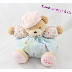 Doudou fatty bear KALOO Liliblue Butterfly arm flowered 25 cm