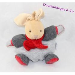 Doudou boule lapin KALOO gris écharpe rouge grelot 17 cm