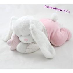 Peluche musicale lapin TEX BABY rose couché étoile Carrefour 23 cm