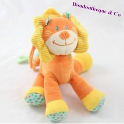 Peluche musicale lion NICOTOY orange crinière jaune 22 cm