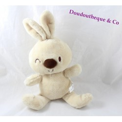 Plush rabbit Carréblanc wink square white beige 32 cm