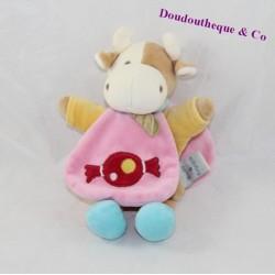Doudou cape vache DOUDOU ET COMPAGNIE bonbon rose 22 cm