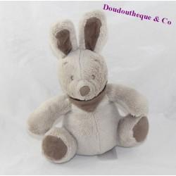 Doudou lapin VERTBAUDET Simba Toys taupe gris assis 18 cm