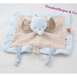 Doudou plat éléphant NATTOU Rigolos bleu beige attache tétine marionnette