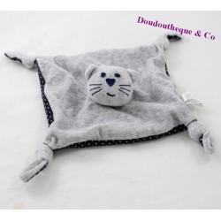 Doudou plat chat BOUT'CHOU Monoprix gris bleu foncé étoiles 4 noeuds 20 cm