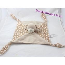 Doudou plat ours SUD ETOFFE beige coeur 4 noeuds 29 cm