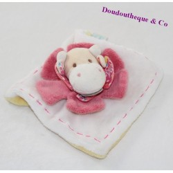 Mini flat blanket cow DOUDOU and company Les Z'amigolos white pink 15 cm