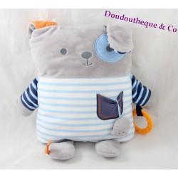 Peluche d'éveil lapin OBAIBI bleu blanc gris coussin 30 cm