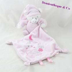 Teddy bear handkerchief MAX & SAX Carrefour pink Moon stripes 16 cm