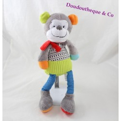 Monkey plush children's words grey blue green red 34 cm