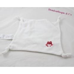 Doudou plat hibou VERTBAUDET blanc carré 4 noeuds chouette 24 cm