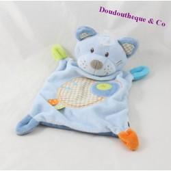 Doudou plat chat NICOTOY bleu ronds étiquettes 23 cm