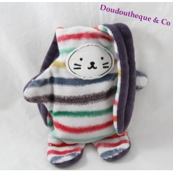 Double sided blankie rabbit CATIMINI multicolor stripes reversible 35 cm