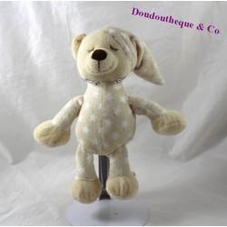 Doudou ours TOM & KIDDY dormeur beige étoiles bonnet de nuit 23 cm