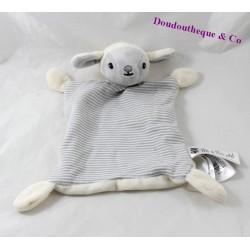 Doudou plat agneau H&M mouton gris beige rayures 23 cm