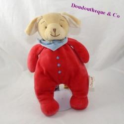 Doudou chien BENGY pyjama rouge bandana bleu 28 cm