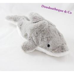 Peluche dauphin MAX & SAX gris blanc Carrefour 39 cm
