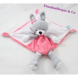 Flat blankie rabbit TEX pink grey star 39 cm