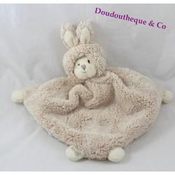 Doudou plat ours BUKOWSKI beige déguisé en lapin 30 cm