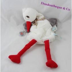 Doudou marionnette Dandy cigogne KALOO Nopnop blanc gris 41 cm
