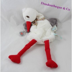 Doudou puppet dandy Stork KALOO Nopnop white grey 41 cm