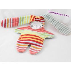 Double sided blankie rabbit CATIMINI multicolor stripes reversible 37 cm