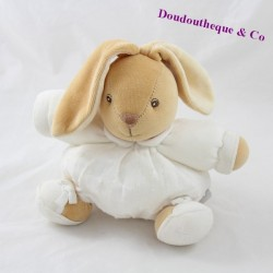 Doudou ball rabbit KALOO Dragée white relief ball 18 cm