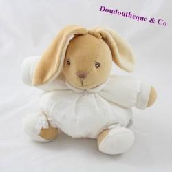 Doudou boule lapin KALOO Dragée blanc boule en relief 18 cm