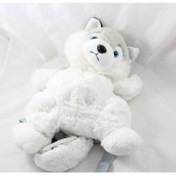 Sac à dos peluche husky chien RODADOU gris blanc noir loup 38 cm