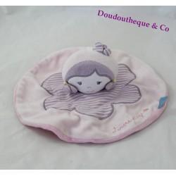 Doudou plat poupée fille SUCRE D'ORGE rose mauve rond 21 cm