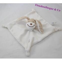 Doudou plat chien OBAIBI blanc beige carré 20 cm