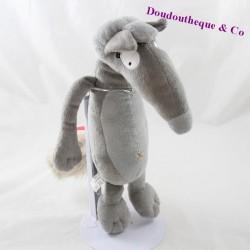 Peluche la louve AUZOU Loup gris noeud rose 25 cm