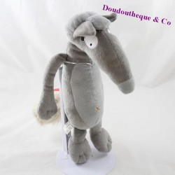 Peluche the wolf AUZOU Wolf gray pink knot 25 cm