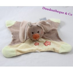 Flat blankie rabbit NATTOU pol and jade yellow brown flowers 23 cm