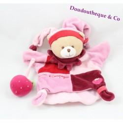 Doudou marionnette ours DOUDOU ET COMPAGNIE fraise rose 25 cm