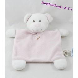 Doudou plat ours GRAIN DE BLÉ rose blanc pois 25 cm